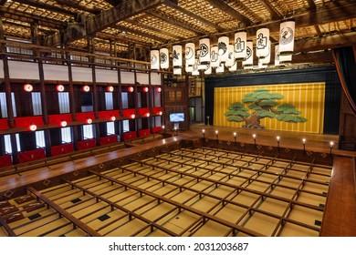 Kagawa, Japan - 26 July 2019: Interior of historical Konpira Grand Theatre (Kanamaruza). Used for kabuki performances. Open to public during off seasons.