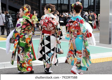 KAGAWA, JAPAN - JANUARY 7, 2018: Young Japanese women wearing traditional kimono for the coming of age day celebration, they turn twenty in Kagawa, Japan.
