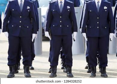 KAGAWA, JAPAN - JANUARY 8: Japanese police officers stand in a row, Sietusiki ceremony. January 8, 2019 in Kagawa, Japan.