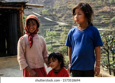 Kagbeni, Nepal - March 18, 2014: little Nepali children girls in the Himalayas of Nepal
