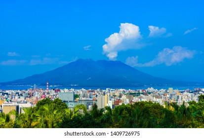 Kagoshima city / Japan 2019/05/11 : Landscape Kagoshima city in the background of Samurajima  in Japan