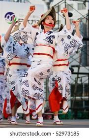 KAGOSHIMA CITY, JAPAN - APRIL 26: Dancers in yukata kimono perform onstage in the Daihanya Festival April 26, 2008 in Kagoshima City, Japan.