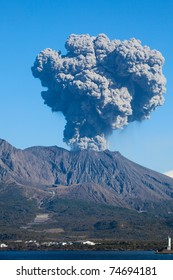 KAGOSHIMA CITY, JAPAN - FEBRUARY 15:  Volcano Mt Sakurajima erupting, Kagoshima City, Japan, February 15, 2011. This volcano,only 4km across Kinko Bay  from the city,  erupted over 800 times in 2010