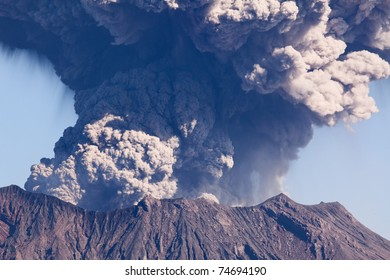 KAGOSHIMA CITY, JAPAN - FEBRUARY 15:  Volcano Mt Sakurajima erupting, Kagoshima City, Japan, February 15, 2011. This volcano,only 4km across Kinko Bay  from the city,  erupted over 800 times in 2010.