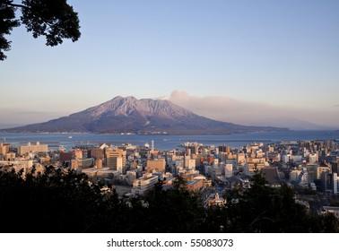 KAGOSHIMA CITY, JAPAN - JAN. 9: Winds blow ash away Kagoshima City during an eruption of the volcano Sakurajima January 9, 2010 in Kagoshima City, Japan.