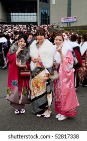 KAGOSHIMA CITY, JAPAN - JANUARY 10:  Young Japanese women in kimono on Coming of Age Day (seijin no hi) January 10, 2010 in Kagoshima City, Japan.