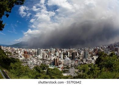 KAGOSHIMA CITY, JAPAN - JUNE 3: Winds bring ash to Kagoshima City during an eruption of the volcano Sakurajima June 3, 2010 in Kagoshima City, Japan.