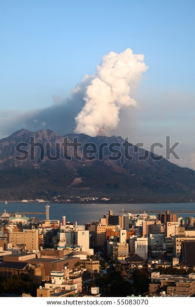 KAGOSHIMA CITY, JAPAN - MARCH 30: The volcano Sakurajima erupts March 30, 2010 in Kagoshima City, Japan.