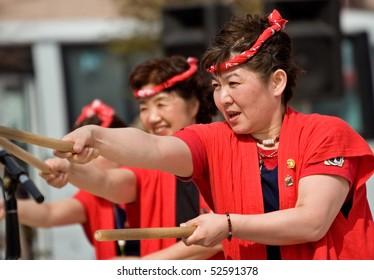 KAGOSHIMA CITY, JAPAN - MAY 3: Taiko drummers red costume performing in the Daihanya Festival May 3, 2007 in Kagoshima City, Japan.