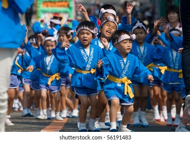 KAGOSHIMA CITY, JAPAN - OCTOBER 22:  Young pre-school children dance in a group during the Taniyama Furusato Matsuri dance festival October 22, 2006 in Kagoshima City, Japan.
