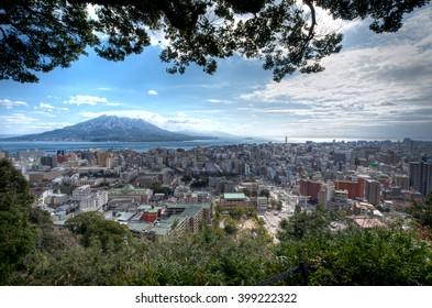 Kagoshima city with Sakurajima Volcano.