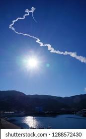 KAGOSHIMA - January 18: Epsilon rocket launched from Uchinoura Space Center, Kagoshima on January 18, 2019. Epsilon is the solid-propellant rocket developed by JAXA, Japan Aerospace Exploration Agency