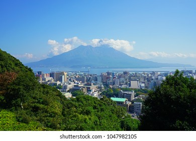 KAGOSHIMA, JAPAN -2 NOV 2017- View of the Sakurajima (cherry blossom island), an active volcano seen from Kagoshima in Kyushu, Japan.