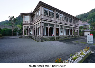 KAGOSHIMA, JAPAN -2 NOV 2017- View of the Ijinkan Foreign Engineer's Residence,  a World Heritage Properties Sites of Japan's Meiji Industrial Revolution in Kagoshima, Kyushu, Japan, a UNESCO site.
