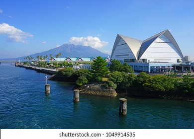 KAGOSHIMA, JAPAN -2 NOV 2017- View of the Kagoshima City Aquarium on the waterfront in Kagoshima, Kyushu, Japan.