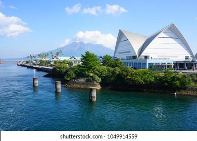 KAGOSHIMA, JAPAN -2 NOV 2017- View of the Kagoshima City Aquarium on the waterfront in Kagoshima, Kyushu, Japan.
