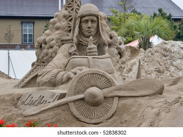 KAGOSHIMA, JAPAN - APRIL 30:  A finished sand  sculpture of Charles Lindbergh in his airplane at the Fukiage Sand Sculpture festival April 30, 2007 in Kagoshima, Japan..