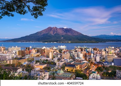 Kagoshima, Japan city skyline with Sakurajima Volcano.