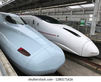 Kagoshima, Japan- December31,2018; two series of Japanese High speed train shinkansen stops at Kagoshima the Southernmost station in Japan