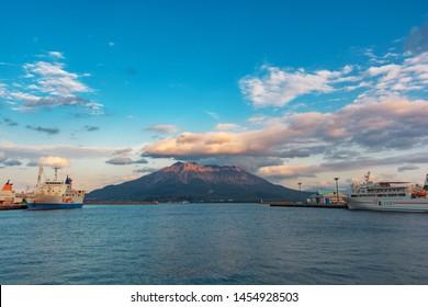 kagoshima, Japan - Jan/ 28/ 2019: volcano Sakurajima