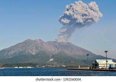 Kagoshima, Japan - September 23, 2011: Volcanic plume rising over Sakurajima