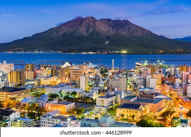 Kagoshima, Japan  skyline with Sakurajima Volcano.