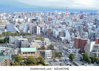 KAGOSHIMA, JAPAN-FEB 02, 2018:View of Kagoshima city from Shiroyama, Japan.
