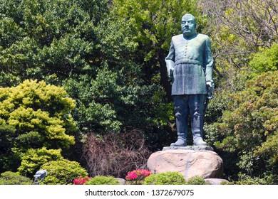 Kagoshima, JP - APRIL 12, 2019: Statue of Saigo Takamori, the last samurai, standing at Kagoshima Chuo Public Park in Kagoshima as the famous sightseeing landmarks.