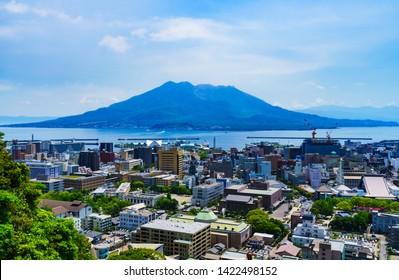 Kagoshima, Kagosima city / Japan - 2019.05.12 : landscape of Kagoshima city and Sakurajima   island in Kagoshima Japan