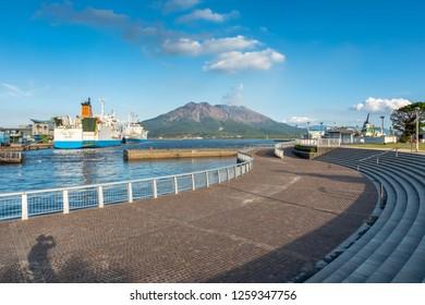 Kagoshima, Kyushu,Japan - October 22, 2018 : Sakurajima mountain with sea and blue sky