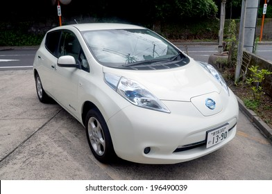 KAGOSHIMA - November 12:Nissan Leaf in Kagoshima on November 12, 2013. Nissan Leaf is the first mass-produced electric car.