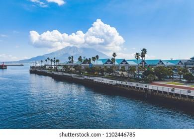 Kagoshima Port view with Sakurajima volcano in the background