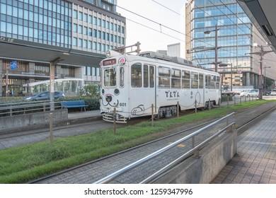 Kagoshima,Kyushu,Japan - October 22, 2018 : City tram in Kagoshima city