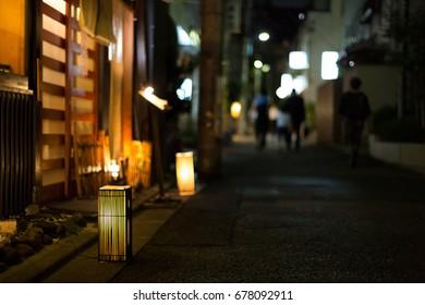 Kagurazaka by night in Tokyo.