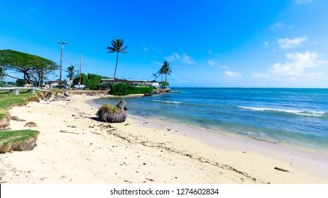 Kahaluu, Hawaii - Dec 24, 2018 : The beach view at Kualoa Regional Park, Oahu, Hawaii