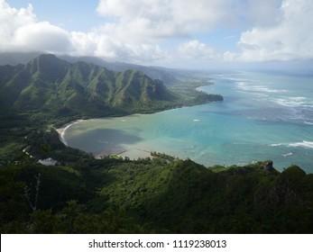 Kahana bay beach kaaawa view from puu manamana mountain crouching lion hike over the ocean east side shoreline Oahu island Hawaii