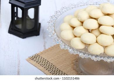 Kahk El Eid - Translation : Cookies of El Fitr Islamic Feast with Arabian lantern