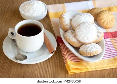 Kahk El Eid - Translation : Cookies of El Fitr Islamic Feast with a cup of Tea