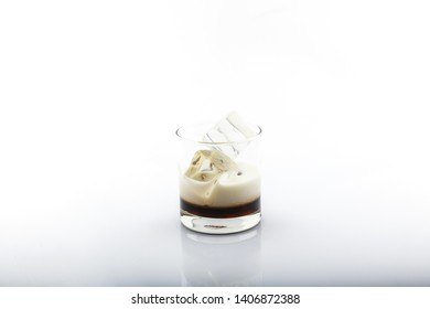 Kahlua with Milk,White Russian,cocktail isolated on white background.