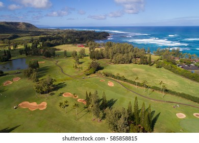 KAHUKU - FEBRUARY 14, 2017: Aerial image of the Turtle Bay Resort and Golf Course Club located at 57-091 Kamehameha Hwy, Kahuku, Oahu, Hawaii.