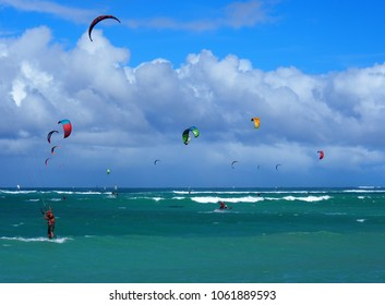 Kahului, Hawaii / USA - Circa January 2016: Kite Boarding at Kanaha Beach Park in Maui, an Island of Hawaii