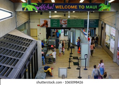 KAHULUI, HI -29 MAR 2018- View of the terminal at the Kahului Airport (OGG) on the island of Maui in Hawaii near the Haleakala volcano.