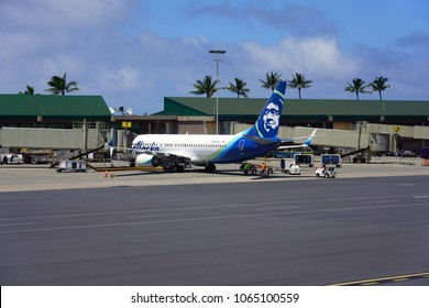 KAHULUI, HI -29 MAR 2018- A Boeing 737 airplane from Alaska Airlines (AS) at the Kahului Airport (OGG) on the island of Maui in Hawaii near the Haleakala volcano.