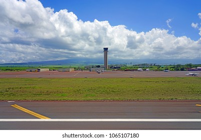 KAHULUI, HI -29 MAR 2018- View of the air traffic control tower at the Kahului Airport (OGG) on the island of Maui in Hawaii near the Haleakala volcano.