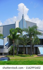 KAHULUI, HI -29 MARCH 2018- Exterior view of the King's Cathedral (First Assembly of God Church) in Kahului on the Hawaiian island of Maui.