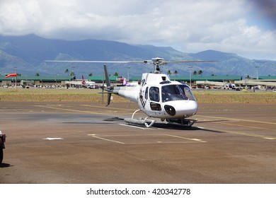 KAHULUI, HI -3 APRIL 2016- Heliport at the Kahului Airport (OGG) on the island of Maui in Hawaii near the Haleakala volcano.