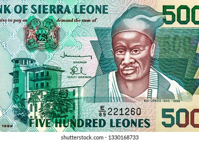 Kai Londo portrait from Sierra Leonean money 500 Sierra Leone Leones Banknote, Sierra Leone money currency Sierra Leone. Close Up UNC Uncirculated - Collection