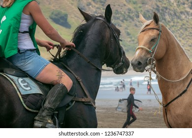 KAIAUA BEACH NEAR TOLAGA BAY, NEW ZEALAND - CIRCA JANUARY 1, 2018 Annual summer beach horse racing event where locals line up their favourite nags to battle it along a kilometre or so of coast.