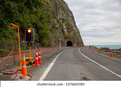 Kaikoura, Canterbury, New Zealand, April 20 2019: Traffic stopped at a section of the Kaikoura Highway that is one way due to rockfall danger