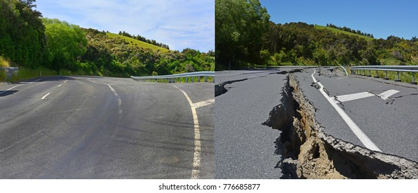Kaikoura Earthquake Damage at the top of the Hunderlee Hills has been fully repaired. Photos shows before and one year, one month & one day after the devastating 7.8 Earthquake.